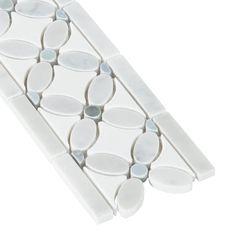 Carrara Flower Marble Border - 4in. x 14in. - 100249283 | Floor and Decor