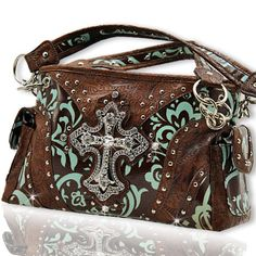 Teal Brown Damask Pattern Western Rhinestone Cross Handbag | KarmicBazaar - Bags & Purses on ArtFire