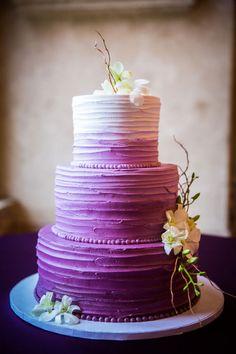 Three Tier Purple Ombre Cake   Photographer - Artessa Photography - artessaphotography.net  Read More: www.acoloradomountainwedding.com/2016/02/black-tie-burmese-mountain-wedding/