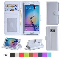 Samsung Galaxy S6 Edge Wallet Case Cover, FYY® [Executive Wallet Kickstand] Premium Leather Flip Case Stand Cover with Card Slots and Note Holder for Samsung Galaxy S6 Edge White