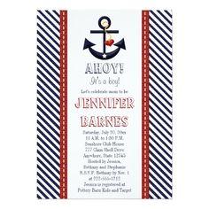 Anchor Nautical Baby Shower Invitation Card