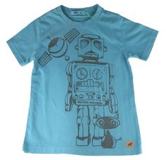 0bf7afed6d Camiseta infantil Oliver algodão robô azul esverdeado