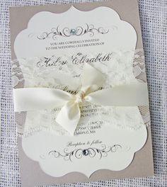 Elegant Lace Wedding Invitation Lace Wedding by LoveofCreating