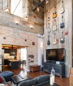 Interior: Classic Living Area With Reclaimed Barn Wood Wall Panel Also Classic Tv Cabinet And Black Leather Tufted Coffee Table Also Black Sectional Sofa: Striking Vintage Interior Of Chicago Loft by Besch Design