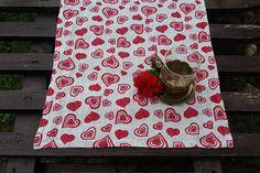 Heart linen table runner table runner linen tablecloths