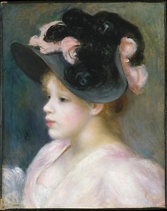 Young Girl in a Pink-and-Black Hat  Auguste Renoir  (French, Limoges 1841–1919 Cagnes-sur-Mer) This is one of many paintings that Renoir made in the 1890s of stylish young women in modish hats. He repeated the subject often, even at the end of the decade, when the extravagant hats had become unfashionable and his dealer tried to discourage him from producing more.  - #art