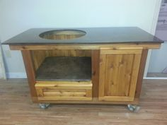 Big Green Egg table for a Large Sized Egg w/ custom concrete top & storage space www.PoshPatios.com