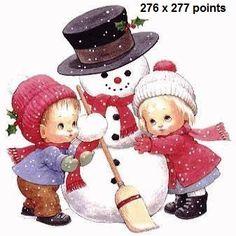 snowman and broom cross stitch photo