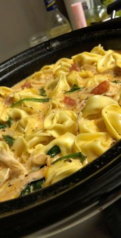 Slow Cooker Creamy Tortellini, Spinach and Chicken Soup - 365 Days of Slow Cooking and Pressure Cooking - Crockpot - Chicken Recipes Tortellini Recipes, Soup Recipes, Tortellini Crockpot, Creamy Tortellini Soup, Sausage Tortellini Soup, Chicken Recipes, Chicken Tortillini Soup, Recipies, Chicken Soups