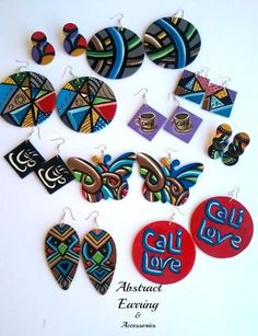 Hand Painted Wooden Earrings Abstract Earrings & Accessories #hand #painted #handpainted #abstract #art #wood #jewelry #eye #unique
