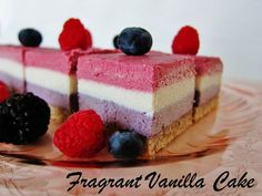 Raw Red White and Blue Layered Berry Bars | Fragrant Vanilla Cake
