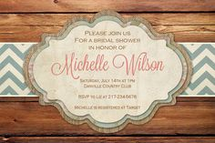 Bridal Shower Invitation Rustic Wood Chevron