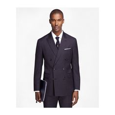 Brooks Brothers Milano Fit Double-Breasted 1818 Suit ($599) ❤ liked on Polyvore featuring men's fashion, men's clothing, men's suits, mens double breasted suit, mens tailored suits, brooks brothers mens clothing and brooks brothers men's suits