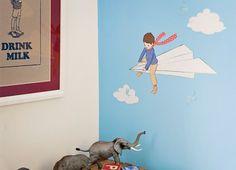 Petit mon avion de papier mural autocollant par belleandboo sur Etsy