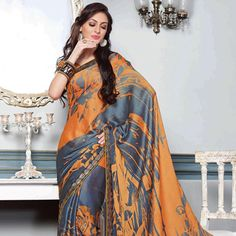 #Orange #Saree with Blouse