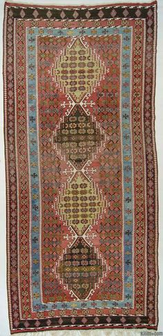 Vintage Corum kilim rug around 90 years old and in very good condition. Corum is located inland in the central Black Sea Region of Turkey.