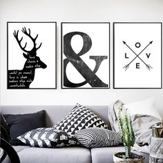 Abstract Minimalist Symbol Canvas Painting Black White Nordic Scandinavian Wall Art Picture Poster Print Living Room Home Decor