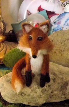 OOAK Artist  Needle Felted Sculpted Wool Red Fox