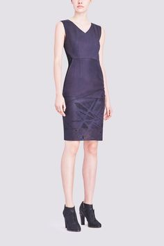 ANDREA DRESS IN LASER CUT LEATHER: Inject some edge into your wardrobe with this sumptuous figure-flattering leather dress. Laser-cut detailing adds the perfect note of understated allure.