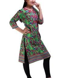 Buy Green Printed cotton kurtas-and-kurtis kurtas-and-kurti online