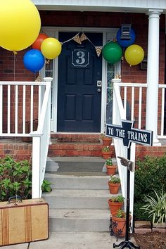 Vintage train birthday party. I love the bunting and station , birthday year number on the door! Oh and the cool sign that I am hoping the hubs will make for me ;)