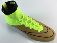 SR4U Neon Yellow Sunlight Shimmer Soccer Laces on Nike Mercurial Superfly 4 Leather Tech Craft Pack