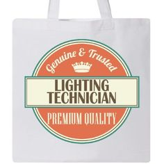 Inktastic Lighting Technician Funny Gift Idea Tote Bag Retired Occupations Job Vintage Logo Clothing Classic Career Reusable Grocery Book Hws, White