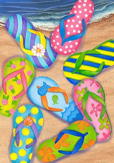 Custom Decor Flag - Flip Flop Beach Decorative Flag at Garden House Flags at… Decoupage, Summer Painting, Paint And Sip, House Flags, Paint Party, Beach Art, Summer Art, Art Plastique, Painting Inspiration