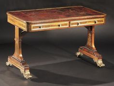 """c1815 A Very Fine Regency Brass Inlaid Rosewood Library Writing Table CIRCA 1815 Height: 28"""" Width: 45"""" Depth: 24 3/4"""" Inventory Number 7730-29 PRICE$120,000"""