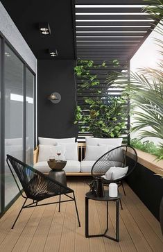 Designing an apartment balcony design doesnt have to be synonymous gone comprehensibly putting out a table and a few chairs. in back a tiny planning and forethought, this tune can become your additional favorite place to spend time. Small Balcony Design, Small Balcony Decor, Balcony Ideas, Patio Ideas, Balcony Grill Design, Garden Ideas, Small Balcony Furniture, Terrace Decor, Tiny Balcony