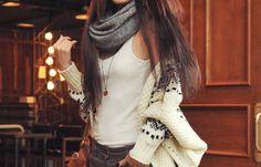 tank + sweater + scarf