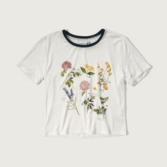 Abercrombie & Fitch Graphic Boy Tee featuring polyvore women's fashion clothing tops t-shirts tees cream floral floral crop top crew neck tee crop t shirt floral tee cream crop top