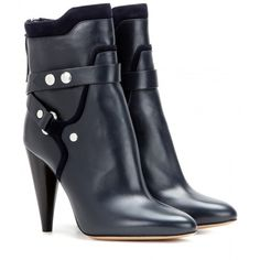 Isabel Marant Redford Leather Boots (€930) via Polyvore featuring shoes, boots, blue, isabel marant shoes, isabel marant boots y isabel marant