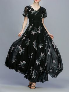Black Floral-print Frill Sleeve Floral A-line Maxi Dress