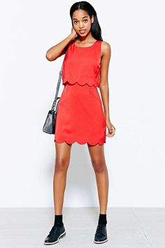 Cooperative Scallop-Edge Twofer Dress - Urban Outfitters