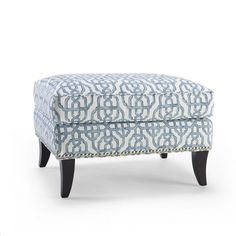 Sonoma Upholstered Ottoman ~ Bring eye-catching style to your living room or master suite with this bold cocktail ottoman, showcasing chic trellis-print upholstery and a wood frame. Coastal Furniture, Living Room Furniture, Living Room Decor, Farmhouse Furniture, Living Rooms, Blue Ottoman, Rhapsody In Blue, Upholstered Ottoman, Cocktail Ottoman