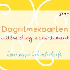 Juf-Stuff: Dagritmekaarten uitbreiding assortiment, lettertype schoolschrift