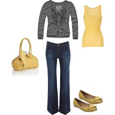 Mustard yellow and gray