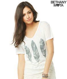 Feathers V-Neck Graphic T from Bethany Mota Collection Aeropostale