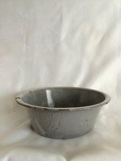 Vintage Gray Enamelware Bowl or Basin by ContemporaryVintage