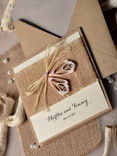 Custom listing 100 SeaShell Wedding Invitation by forlovepolkadots