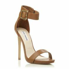 steve madden ladies tan buckle ankle strap high heeled sandal, dune shoes online