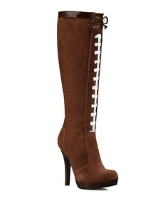 Look at this Brown Football High-Heel Boot - Women on today! Football Tailgate, Browns Football, Football Boots, Football Banquet, Football Stuff, Football Fans, Football Season, Tailgating, High Heel Boots