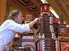 The candy-filled world of Willy Wonka was the inspiration for this giant gingerbread chocolate factory -- check out that chocolate waterfall and those singing Oompa Loompas!