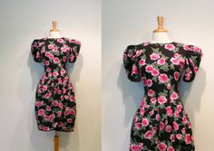 Vintage Black & Pink Rose Print Puff Sleeve Party Dress