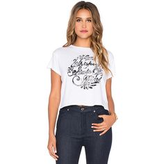 AMUSE SOCIETY Whiskey Bent Crop Tee Tops (€23) ❤ liked on Polyvore featuring tops, t-shirts, graphic tees, graphic tops, crop tee, crop top, graphic crop tops and graphic design t shirts