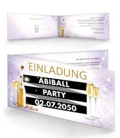 Individuell bedruckte Einladungskarten für Abiballpartys von onlineprintxxl. #onlineprintxxl #abiballparty #abiballeinladung #einladungabiball