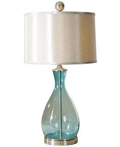 Bring home a little bit of the beach with an ocean blue colored glass lamp