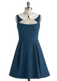 Love. I am semi-obessed with peterpan collars. They're cute and have a delicous vintage feel! That, mixed with the cute cut out neckline of this dress mixes old with new for a perfect sorm of style. #ModCloth
