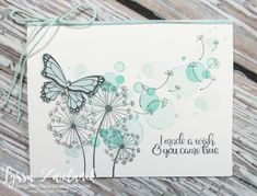 Learn to make these dandelion wishes cards for your friends! Dandelion Wishes Stampin Up seeds garden blowing butterfly wedding wink stella Butterfly Cards, Flower Cards, Butterfly Wedding, Butterfly Birthday Cards, Sympathy Cards, Greeting Cards, Karten Diy, Dandelion Wish, Birthday Cards For Women